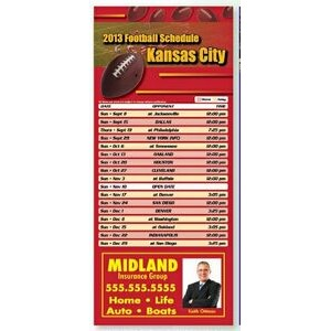"Professional Football Sports Schedule Magnet (3 1/2"" x 8"")"