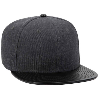"OTTO Wool Blend Twill w/ Faux Leather Round Flat Visor ""OTTO SNAP"" 6 Panel Pro Style Snapback Hat"